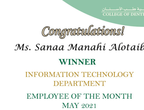 Congratulation Ms. Sanaa Al Otaibi for Employee of the Month (COD-IT) May 2021