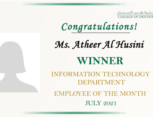 Congratulation Ms. Atheer Al Husini for Employee of the Month (COD-IT) July 2021